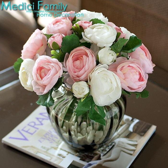 907 fleur artificielle vase en verre qualité fleur de soie fleur artificielle thé rose en relief petit ensemble