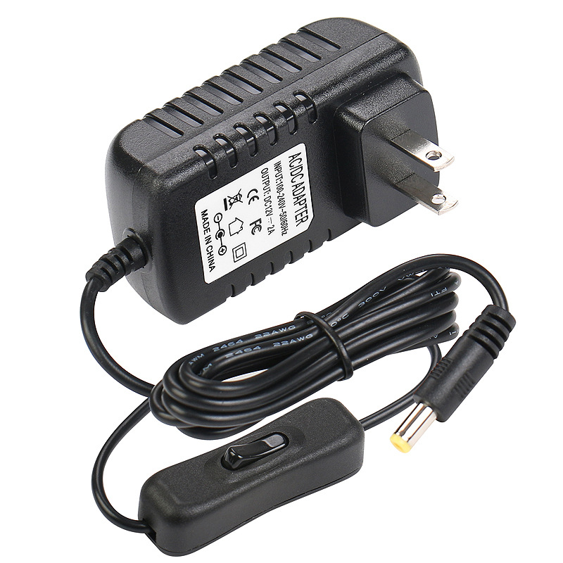 DC <font><b>12V</b></font> 2A <font><b>Power</b></font> <font><b>Supply</b></font> Adapter, AC 100-240V to DC <font><b>12V</b></font> Transformers, 24W Max, <font><b>12</b></font> Volt 2 <font><b>Amp</b></font> <font><b>Power</b></font> Adapter 1.35mm X 3.5mm US Plug image