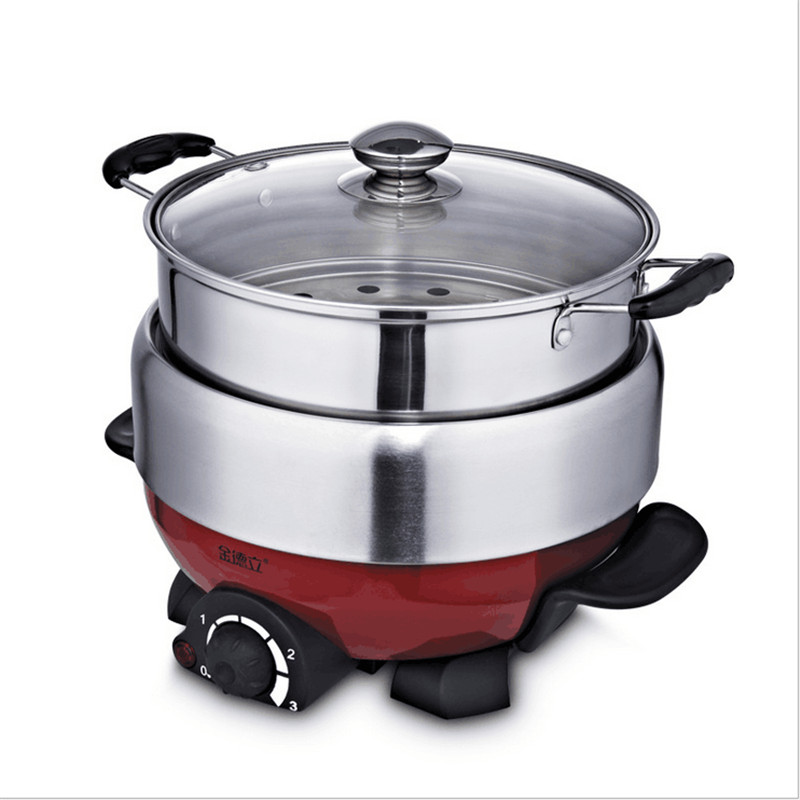 1100W 3L Non-stick Multifunctional Electric Household Hot Pot Electric Cooker Heat Pan Fryer Chafing Dish Suits 3-4 People