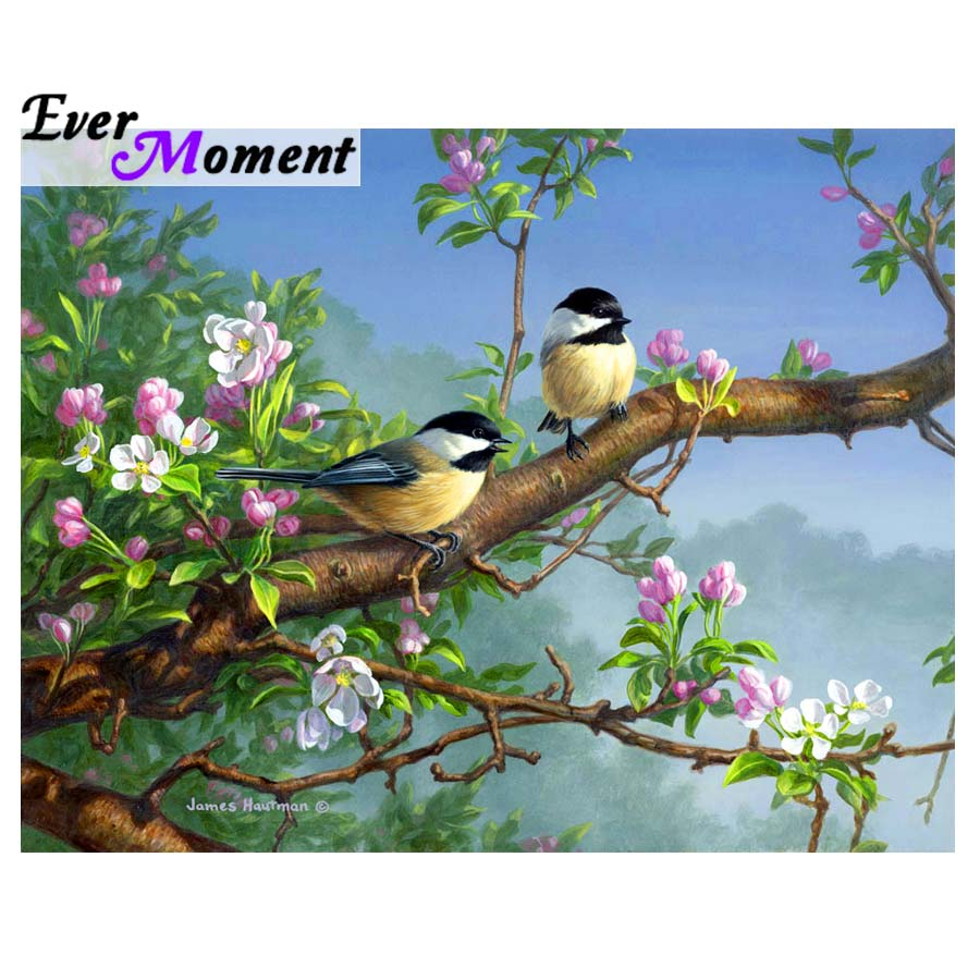 Ever Moment Diamond Painting Cross Stitch Birds Pink Flower Tree DIY Embroidery Diamond Full Mosaic Animal Square Stones ASF932Ever Moment Diamond Painting Cross Stitch Birds Pink Flower Tree DIY Embroidery Diamond Full Mosaic Animal Square Stones ASF932