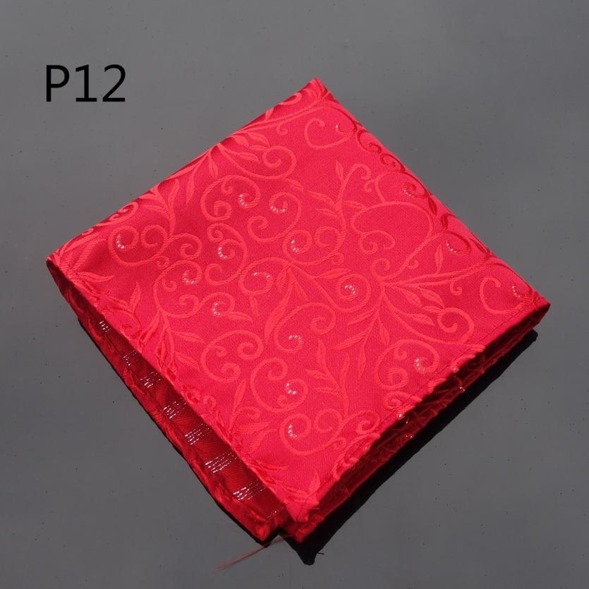 Handkerchief Floral Red  Hanky Men Tie Jacquard Woven Pocket Square Fashion