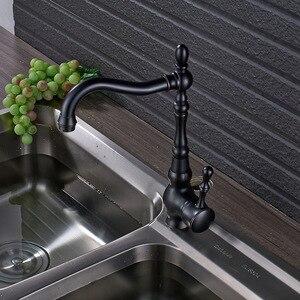 Image 4 - Nablatowa łazienka kuchnia kran pojedynczy uchwyt 360 obrót umywalka bateria zlewozmywakowa krany czarny ciepła i zimna woda miksery