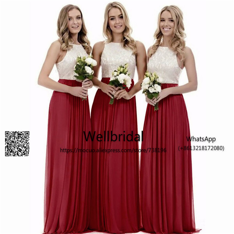New 2017 Fashion Aqua Junior   Bridesmaid     Dresses   Long with Lace Tank Chiffon Cheap Simple Wedding Party   Dress     bridesmaid     dress