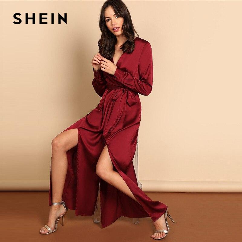 SHEIN Borgoña mujer moderna playa cintura nudo división de cuello en V manga larga vestidos mono otoño elegante mujer trajes