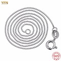 YFN 925 Sterling silver Box Chain Necklace Body Chains Jewelry For Women Wholesale Chain Size 14,16,18,20,22,24,26,30 inch