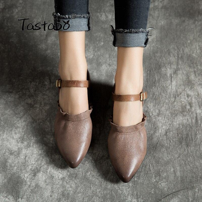 Tastabo حقيقية أحذية من الجلد اليدوية أحذية نسائية كعب منخفض الأحذية الجلدية مشبك أحذية أنيقة ارتداء مقاومة وحيد-في أحذية نسائية مسطحة من أحذية على  مجموعة 1