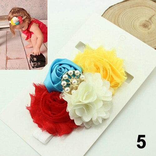 Hot Kids Baby Girls Elastic Sequins Rose Flower Buds Knot Beads Headband Hair Band 6KN3 7G27