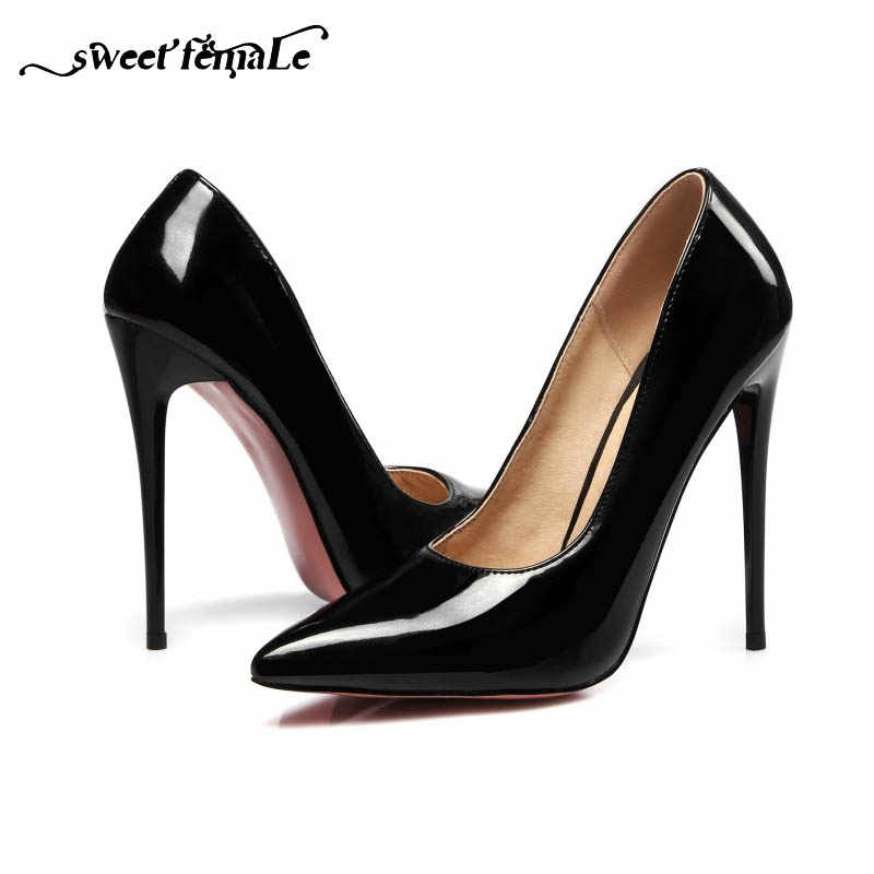 9283317fd New Fashion Pink sole Pearl paint leather Women shoes 12 cm Sexy High heels  Black Pink