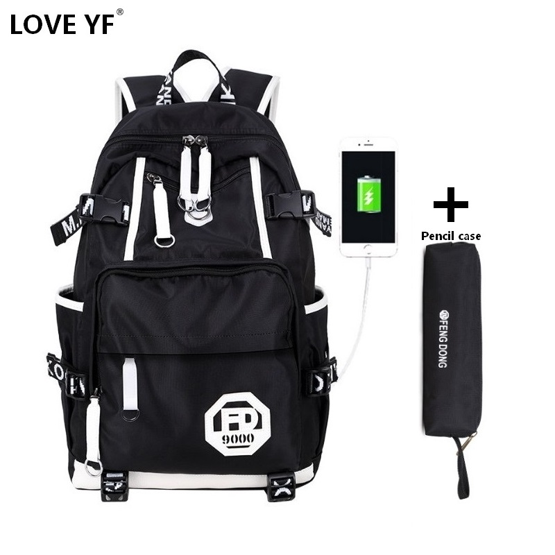 High School Student Backpack Men Travel Backpack Black Waterproof Large Capacity Backpack For Adolescent Boy Bagpack For Girls