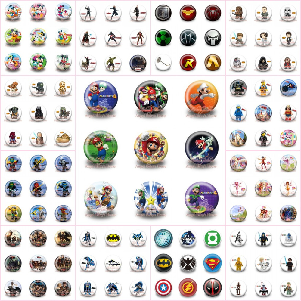 Lovely 18pcs/lot Super Heroes Mario Moana Cartoon Accessory Badges Pins On Cloth/bag Decoration Buttons Brooch Kid Gift Party Supplies Apparel Sewing & Fabric Home & Garden