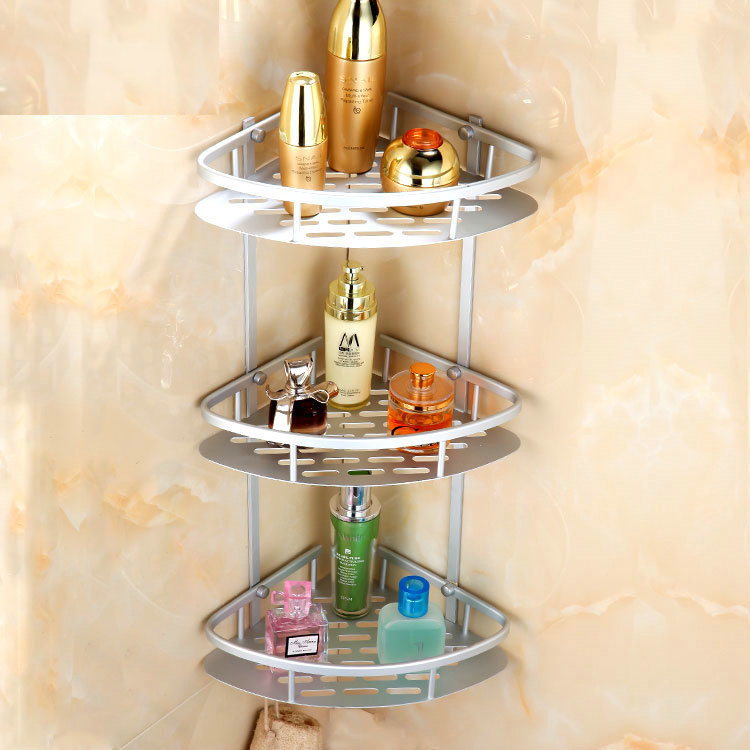 Lovely Space Aluminum Bathroom Shelves 3 Layers Bathroom Accessories Corner Shelves  Wall Mounted Cosmetic Shelf KT28(