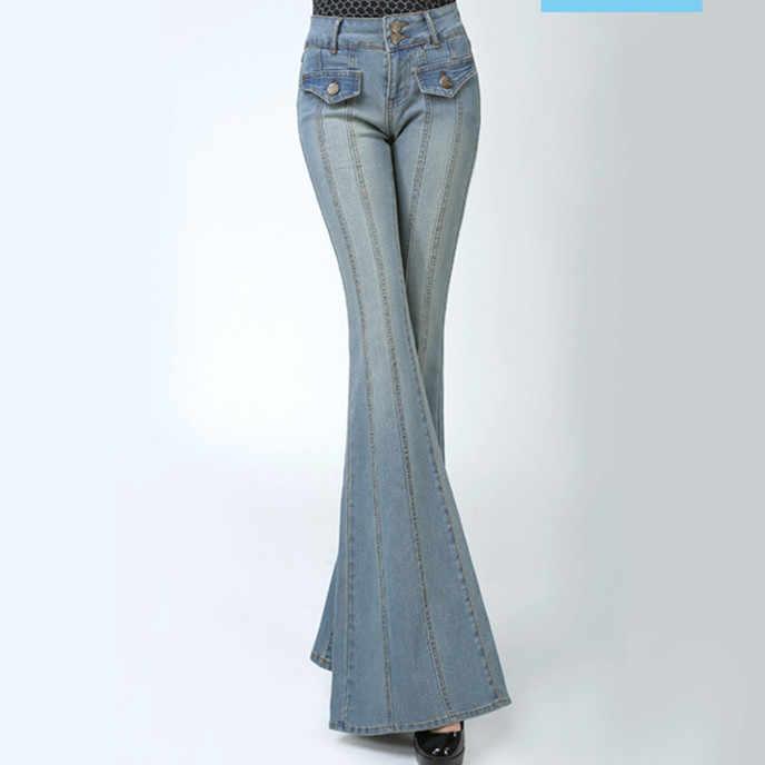 5bd3aa2964ec ... Women Plus Size High Waist Slim Leg Flared Jeans Female Bell Bottom  Bootcut Trouser Ladies Sexy ...