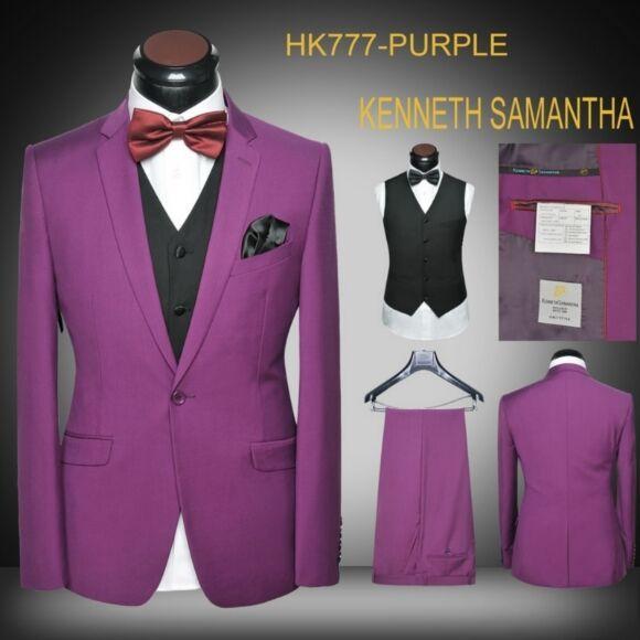 2017 Latest Coat Pant Designs Purple Grey Wedding Suits For Men Slim Fit 3 Piece Blazer