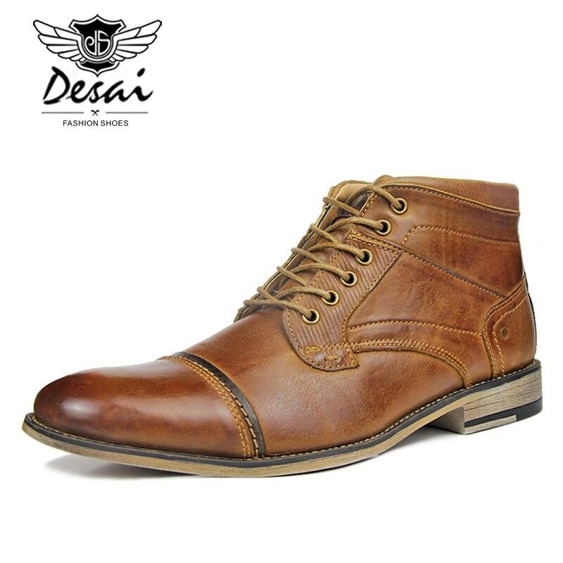 남자의 새로운 높은 부츠 정품 가죽 부츠 플러스 벨벳 비즈니스 캐주얼 높은 신발 남자 레이스 업 대형 옥스포드 신발 브라운-에서작업 & 안전 부츠부터 신발 의  그룹 2