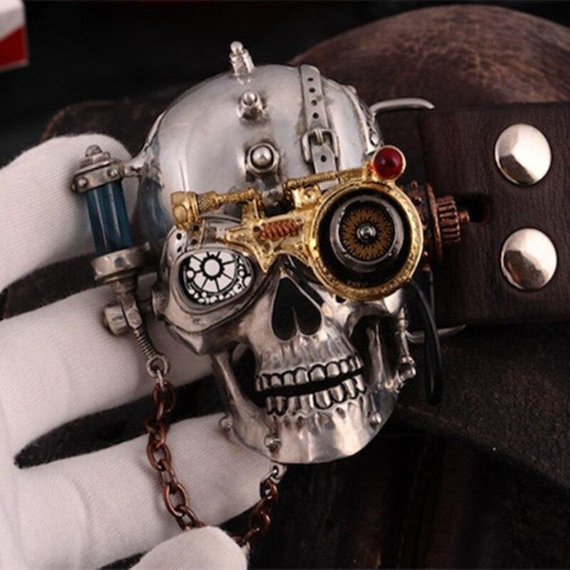 OGRM Skull   Belt   Men Steam Punk Buckle Tin Alloy   Belt   Buckle Gothic Cowhide Genuine Leather   Belts   for Adult Man Gift High Quality