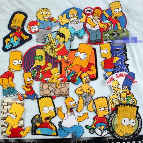 25pcs set the simpsons family figure bart iron on barbapapa jacket patches for clothing rock patch