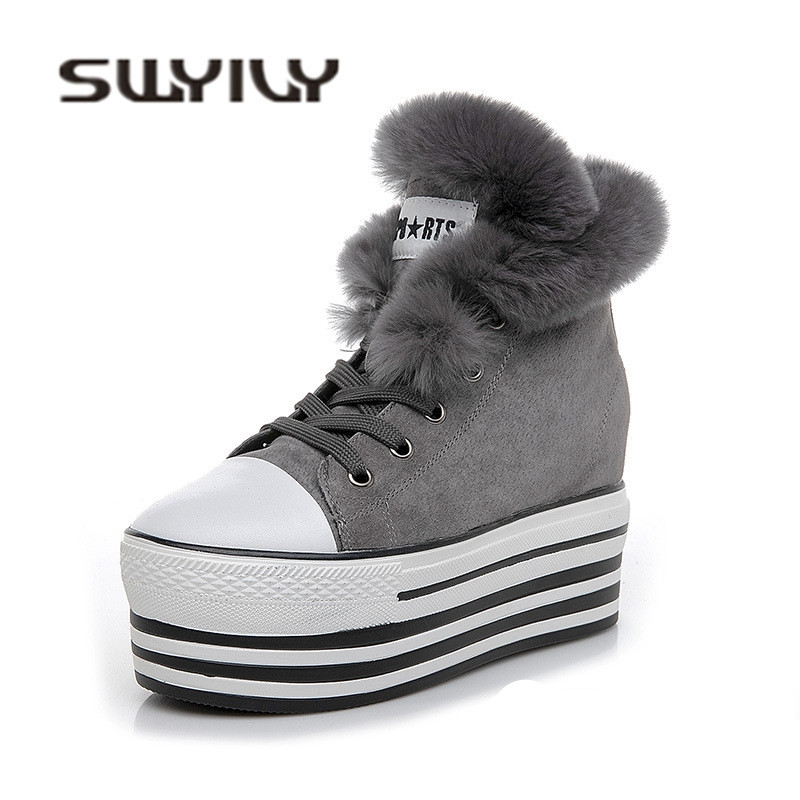 SWYIVY Woman Winter Warm Sneakres Shoes Platform Genuine Leather 2018 Winter Wedge Rabbit Fur Casual Shoes Student Snow Shoes