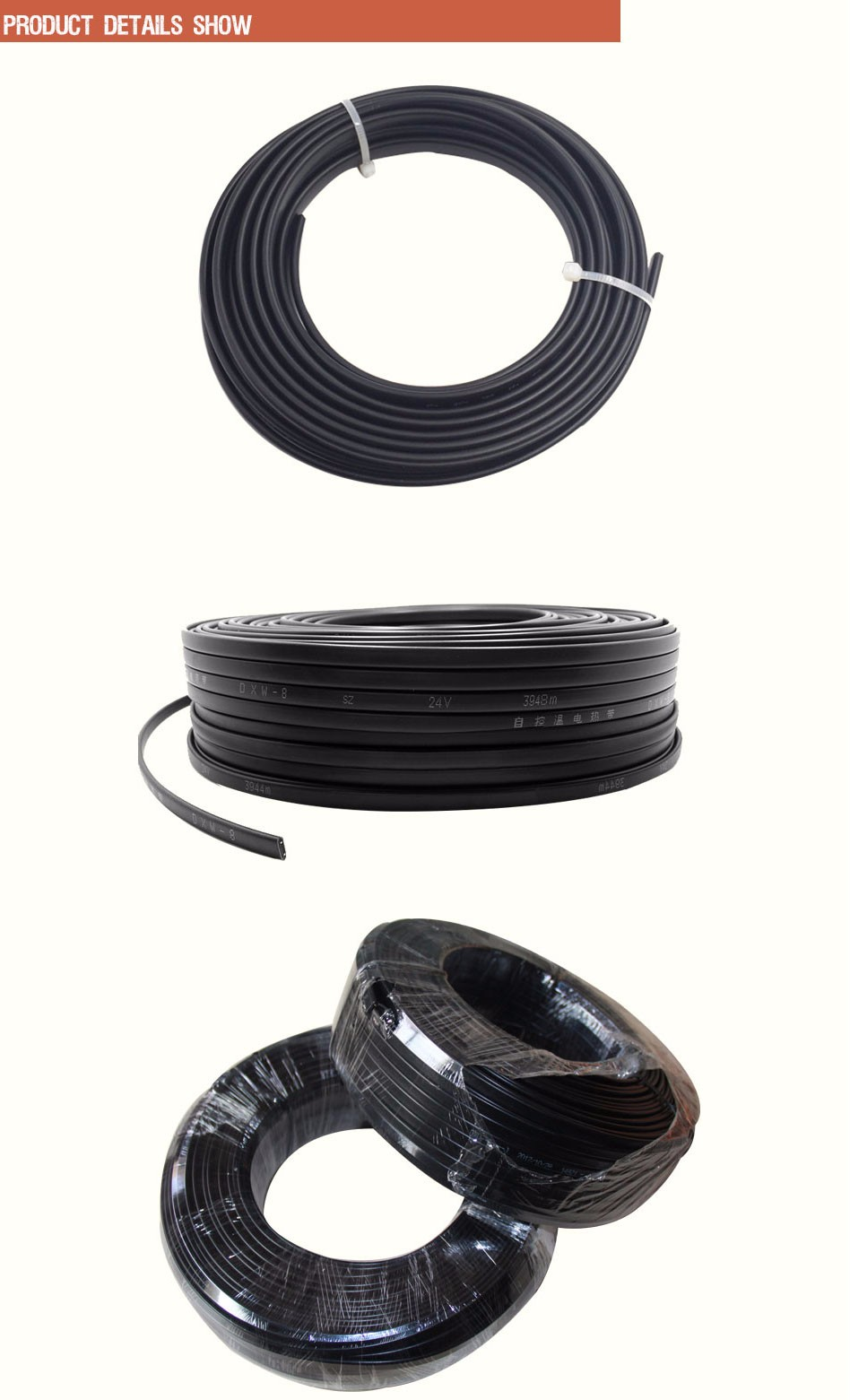 15M/lot Anti-freeze Frost Protection Heating Cable Water Pipe/Roof 230V 8MM 20W/M Self Regulating Electric Heater Copper Wire
