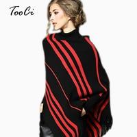 Autumn And Winter New Lady High Collar Cloak Shawl Women Black Red Bat Sleeve Fringes Irregular Tassel Poncho Pullover Sweater