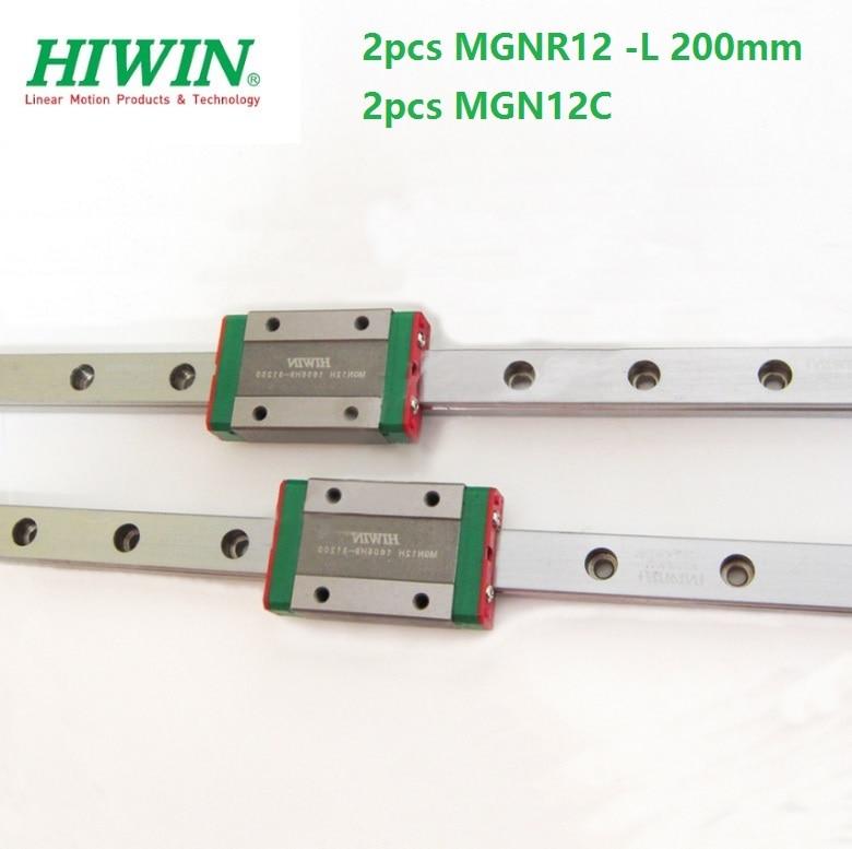 2pcs Taiwan Original HIWIN linear guide rail MGN12 -L 200mm + 2pcs MGN12C mini sliding blocks for CNC kit MGNR12 2pcs Taiwan Original HIWIN linear guide rail MGN12 -L 200mm + 2pcs MGN12C mini sliding blocks for CNC kit MGNR12