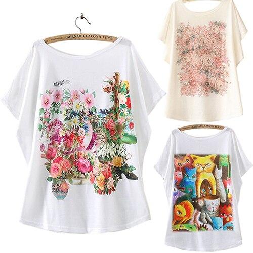 Модная женская футболка с рукавом летучая мышь и цветочным принтом, летние свободные топы, розничная/оптовая продажа, 5AWG 7F5G 9C8T