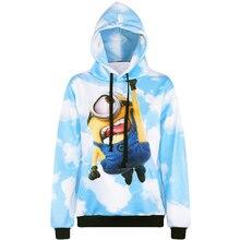 Harajuku 3D Print Despicable Me Minions Sweatshirts Fashion Long sleeve with hat men Women Hoodies Cartoon Hoody Hooded Pullover