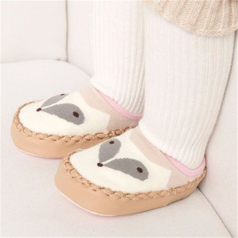 Baby Shoes Socks Infant Cartoon Indoor Floor Socks Leather Sole Non-Slip Thick Towel Shoe 4
