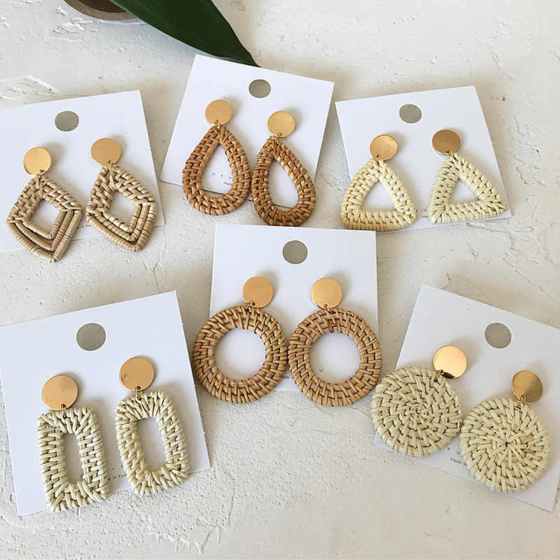 Multiple 2019 Korea Handmade Bamboo Braid Pendent Drop Earrings New Fashion Geometric Rattan Vine Knit Long Earrings For Women