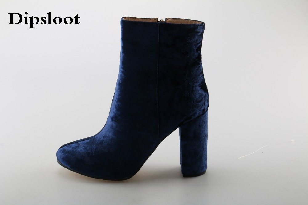 Velvet Round Toe Lady Sexy Ankle Booties Autumn Winter Chunky Heels Woman Fashion Short Boots Blue Green High Heels Shoes yanicuding round toe women flock ankle booties metal short boots zip design luxury brand fashion runway star autumn shoes flats