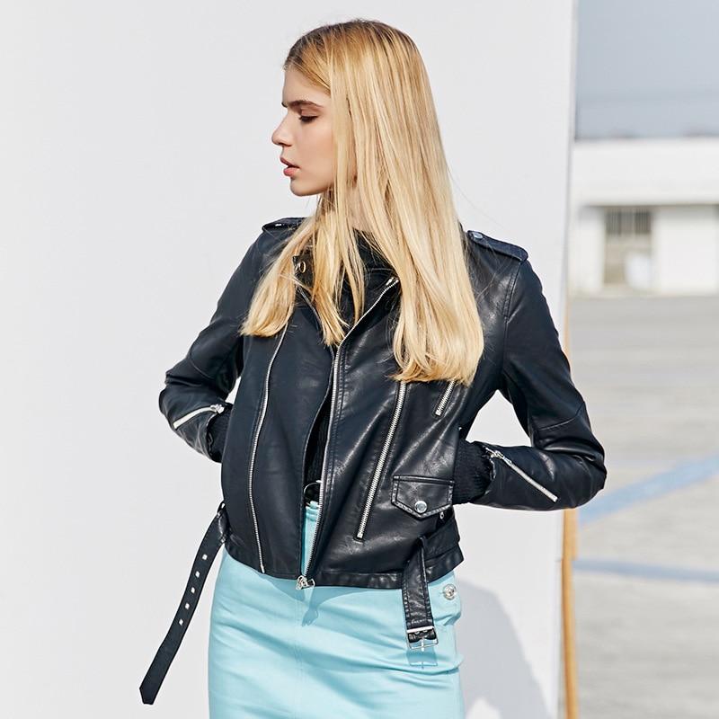 Moto Veste Cuir Faux Vestes Ceinture Conception Zipper En Femmes Mince Bootyjeans Pu Mode Rivet Noir Courte De q1BUcZw