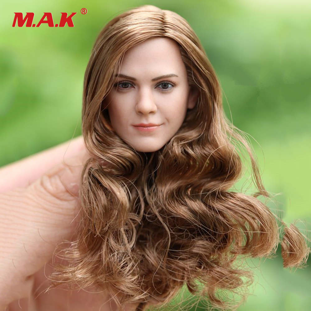 1:6 Scale Female Head Sculpt Hermione Emma Watson Smile Woman Head Model with Long Curls Hair For 12 Female Action Figure Body