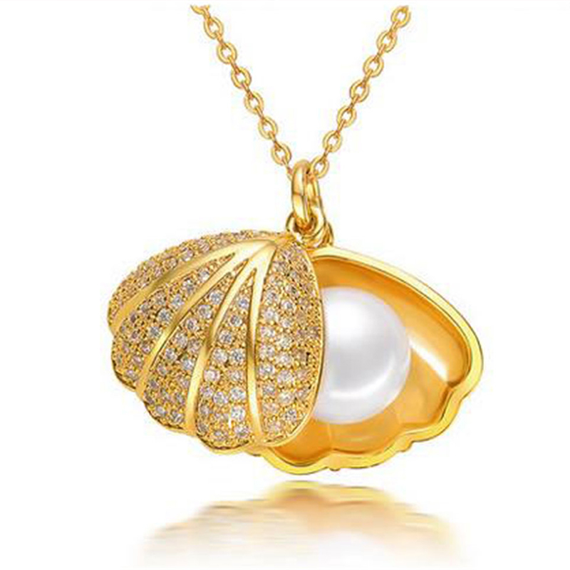 11-12mm Shell Design Pearl Necklace Pendants Shape Natural Freshwater For Women 925 Sterling Silver Necklace Fashion Charm