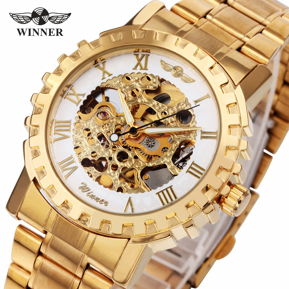 2018 T-WINNER Mens Automatic Mechanical Watch Golden Stainless Steel Strap Gear-shaped Case Roman Number Top Luxury Design +BOX2018 T-WINNER Mens Automatic Mechanical Watch Golden Stainless Steel Strap Gear-shaped Case Roman Number Top Luxury Design +BOX