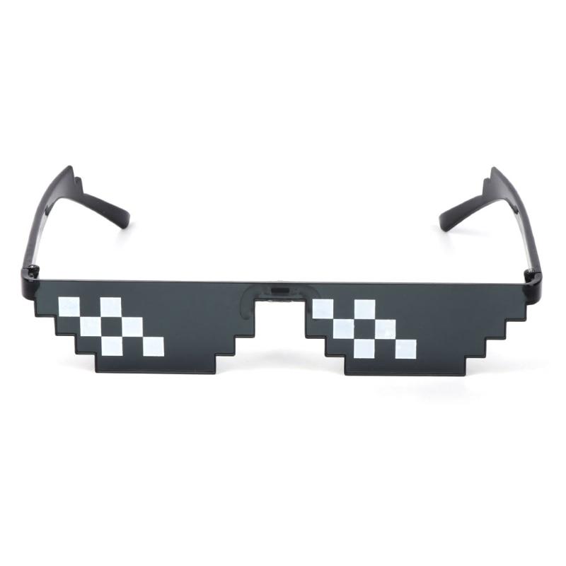 HBB 1PC Joke Toys Thug Life Glasses Deal With It Glasses Pixel Women Men Black Mosaic Sunglasses Adults Kids Novelty Toys Gifts