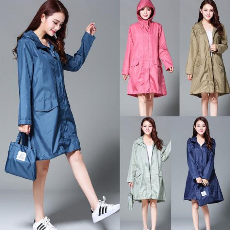 WINSTBROK Raincoat Kvinder 2018 Fashion Ladies Rain Coat Pustende Ladies Long Raincoats Bærbare Vandafvisende Raincoat Women
