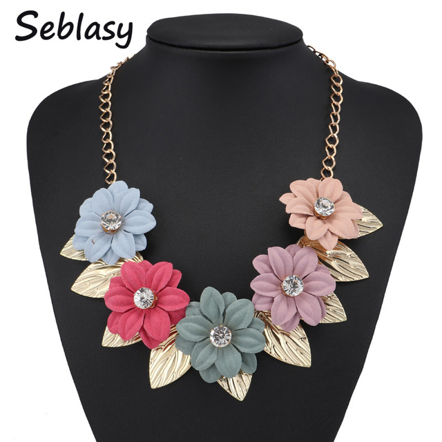 Seblasy Maxi Statement Jewelry Gold Color Big 5 Crystal Flowers Necklaces & Pendants with Alloy Leaves Choker Necklaces Women