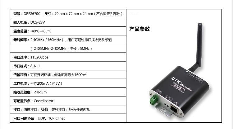 ZigBee Gateway ZigBee to TCP IP Network Port Module Built-in CC2630 Chip RJ45