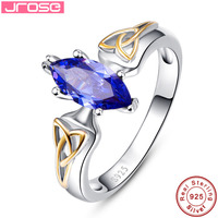 Jrose 10x5mm Marquise Cut Tanzanite Solid 925 Sterling Silver Ring Solitaire AAA Jewelry For Women Sz