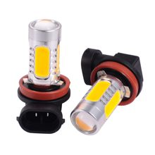 2Pcs H8 H11 7.5W Car Light Source 12V Car Headlights Fog Lamps LED Car Lights with Lens Projector(China)