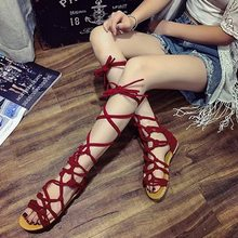 LASPERAL Roman Gladiator Bandage Sandals Women Knee High Flat Sandalias Botas Femininas Shoes Girls Summer Hollow Ankle Boot(China)