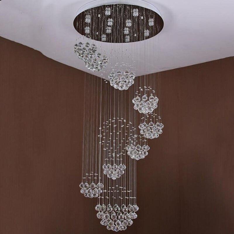 Nieuwe moderne item Dia800 * H3000MM grote moderne hotel kroonluchter kristal trap licht gratis verzending