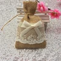 24 pcs Lin Naturel Cadeau De Mariage Sacs Bijoux Sac Cordon Faveur De Mariage Sacs