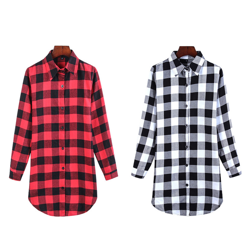 New Woman Autumn fashion Cotton All-match Plaid Casual Loose Long Sleeve T-shirt