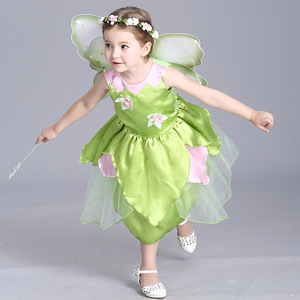 Image 3 - 2018 New Tinkerbell princess Woodland Fairy Dress Cosplay Costume Girls Green Fairy Dress for 3 10Y kids (without wing)
