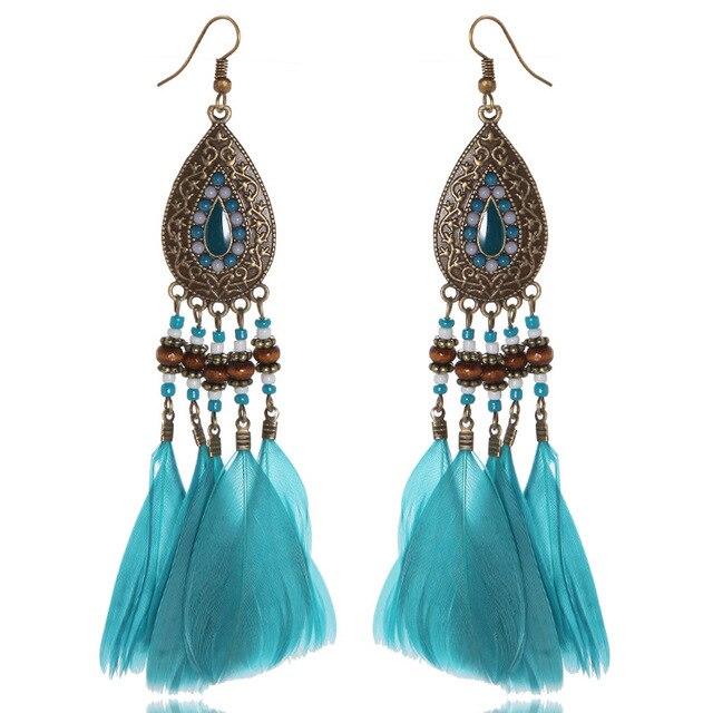 283b05b214 Long Peacock Feather Earrings For Women Bohemian Jewelry Antique Bronze  Plated Multi Color Seed Beads Tassels Drop Earring