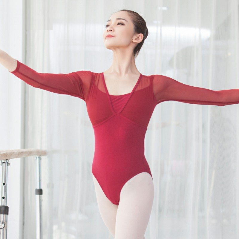 Mesh Stitching Fake 2pieces Bodysuit Leotard Gymnastics Leotard Ballet Leotards For Adult Transparent Back Girls Dance Costume