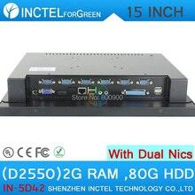 """15 """"все в одном LED лучший сенсорный экран шт 4-проводной резистивный с 2 * RJ45 6 * COM HDMI VGA 2 Г RAM 80 Г HDD Intel D2550 1.86 Г Win XP/7"""