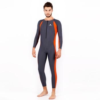 Men Professional One Piece Full Body Bathing Swim Suit Male Long Sleeve Surfing Sport Diving Windsurfing Rash Guard Swimwear