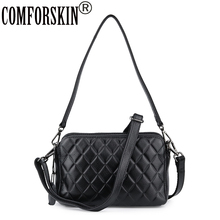 COMFORSKIN Cowhide Leather Geometric Womens Totes 2019 New Arrivals Ladies Messenger Bag Cross-body Bags Handbag