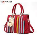 MANXISI Brand Women Handbag Fashion Classic Striped Shoulder Bags Luxury Handbags Women Bags Designer Burgundy Top-Handle Bags